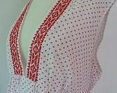 70's Hippie Polka Dot Empire Tunic Mini Dress Embroidered Deep V Neck Red White L XL