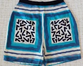 50's High Waisted Ladies Shorts Number 7 Novelty Print Cotton Tiki Hawaiian XS S