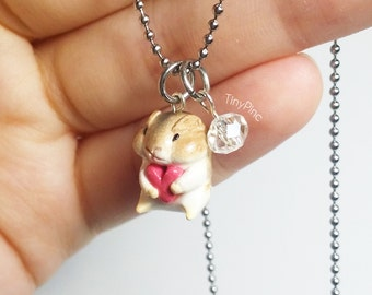 Little Miniature Brown Hamster Hugging Holding Pink Heart Necklace with Crystal Glass Bead Cute Accessories Wear