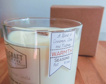 "CINNAMON, CLOVE, and NUTMEG: 8 oz. Aromatherapy ""Warmth"" Candle"