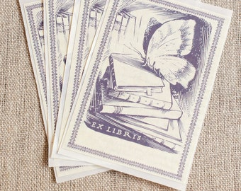 PERSONALIZED Bookplate Stickers- Vintage Inspired- Lavender Butterfly