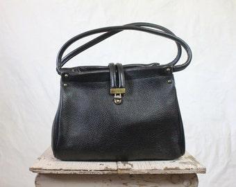 Vintage 60's Black Leather Handbag