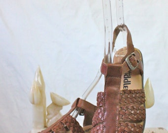Vintage Chocolate Braided Italian Leather Sandals