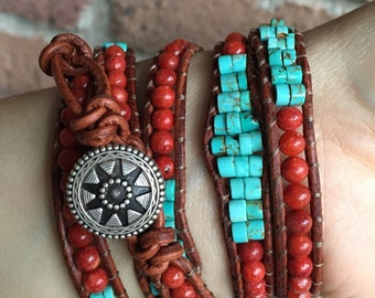 Turquoise and Coral Southwestern Native American style leather wrap bracelet, Apple coral, turquoise bracelet,
