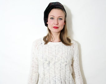 Vintage Semi Sheer Ivory Cropped Knit Sweater