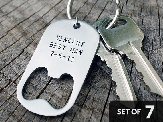 Set of 7 - GROOMSMEN GIFTS Personalized Bottle Opener Keychains - Wedding Best Man