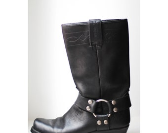 6.5/37 Black leather boots cow boy cow girl country western boots rebel style
