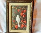 White Bird Painting Signed Original Framed Vintage Autumn Leaves