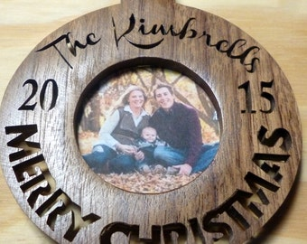 "2016 Photo Ornament, Personalized and Hand Cut Christmas/ Holiday Ornament. Made from Real Hardwood. 4"" Diameter"