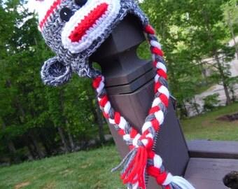 Sock Monkey Crochet Ear Flap Hat - MADE TO ORDER