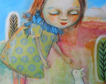 Little Girl with White Cat in the Garden Mixed Media Painting Folk Art 12 x 12 on Wood Fantasy Garden Sunny Day Blue Sky