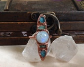 Orb of Night Ring // Size 7 // Rainbow Moonstone, Blue Apatite, Tourmaline Ring