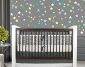 Star Decals, REUSABLE Fabric Decal, Pattern Decals Nontoxic PVC free Ecofriendly Decal, Retro Pattern Star Decal, SD20