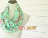 Aqua Teal Blue and Mustard Pink Orchid Floral Jersey Knit Infinity Scarves Scarf Summer Spring Scarf Flowers Pink Roses Rosey Vines AmyAnne