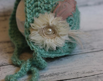 bonnet, baby bonnet, crochet bonnet, girl or boy  bonnet, photo prop, ready to ship