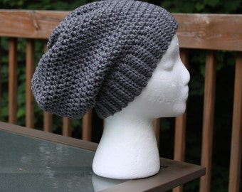 Banded Slouchy Beanie in Grey - Ready to Ship