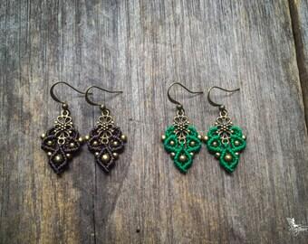 Macramé boho earrings small macrame boho jewelry bohemian wear gypsy by Creations Mariposa