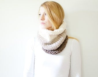 the SOLOMON cowl - knit cowl scarf chunky scarf - color block - fisherman / linen / taupe