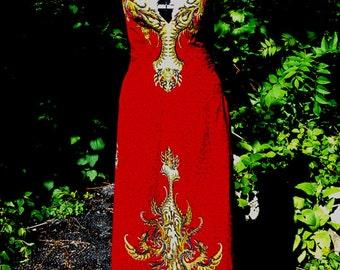 Red Thai Dragon Backless Maxi Dress