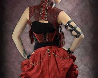 Red Pinstripe Bustle Ruffle Skirt, Leather Trim with Tulle Lining and Brass Chain Detail by Loose Lemur Clothing