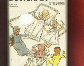 Vintage  1980's Butterick 3317  Baby Layette Christening Gown Bonnett  Bunting & More Size Infant UNCUT