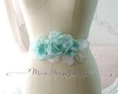 SUMMER CLEARANCE SALE -  Green Mint Lace Garden Flower Rose Leaves Belt Obi Women Sash - Bridal Wedding Romantic French Dress Shabby Chic