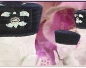 Velvet Pillbox Hat - Cocktail Hat - Navy Velvet, Sequins, Passementerie