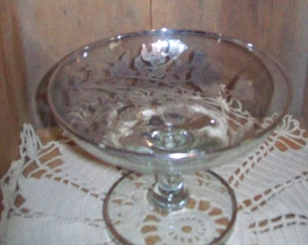 Silver Overlay Pedestal Dish, Compote, Poppy