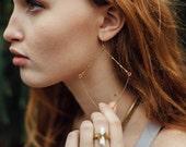 Prism Earrings // Hand Hammered Brass Diamond Earrings // Brass Hoops