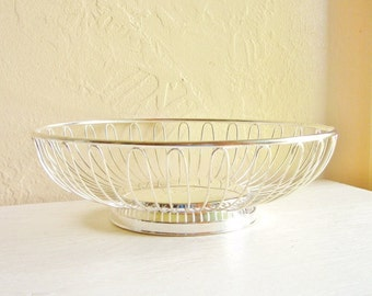 Round Silver Metal Basket Pedestal Bowl Mid-Century Modern