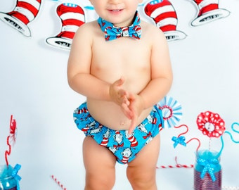 Dr.Suess Smash Cake Set, Bow Tie, Diaper Cover, Cake Smash, Boys Cake Smash, Cat in the Hat, Dr.Suess Birthday, Boys First Birthday, Baby