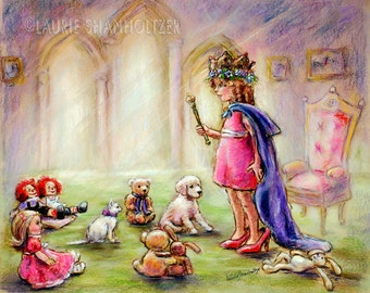 "Royal Princess, Canvas art prints,nursery, childhood, pretend play children illustration, Laurie Shanholtzer, "" Our Princess Holding Court"""