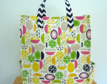 Lemon Tote with Pockets, Eco Bag, Reusable Grocery Bag, Yellow Tote, Carry All Bag, Fun Tote Kitchy Kitchen Citrus Slices, Market, Chevron