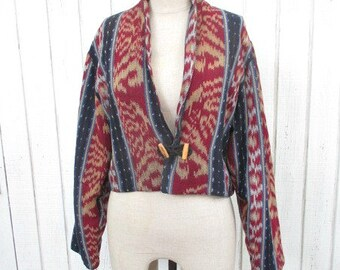 Tribal Jacket Sale 90's Southwestern Jacket Vintage Blazer Hipster Indian Print Boho Maroon Medium Jacket