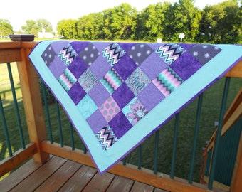 Baby Girl Quilt, Baby quilt, Purple Quilt, Baby blanket, Patchwork blanket, Purple Blanket