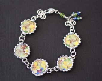 Bracelet, Broken China Jewelry, Broken China Bracelet, Mary's Garden, Blue and Green Floral, Sterling Silver, Soldered Jewelry