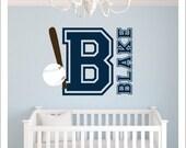 Baseball Wall Decal Varsity Letter Baseball Decal Set Personalized Wall Decal Boys Nursery Decal Bedroom Decal Baseball Bat Name Initial