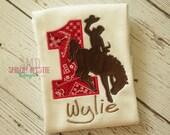 Western Cowboy Horse Birthday shirt-cowboy birthday shirts-Bronc Rider Birthday Shirt