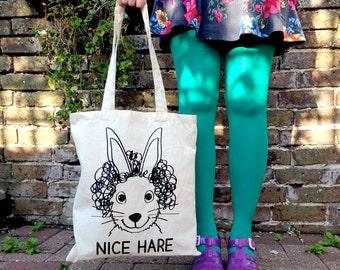 Nice Hare Tote Bag, Screenprinted Tote by hello DODO, Funny Tote, Beach Bag, Cotton Shopper, Handprinted Purse, Animal Tote Bag, Rabbit Bag