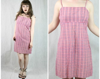SALE 90s Grunge Clueless Pink Gingham Checked Plaid Spaghetti Strap Empire Bust A Line Summer Picnic Babydoll Mini Dress M