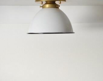 Dallas • solid brass with metal dome shade in black or white • industrial sconce with flat holder • READY to ship • UL LISTED