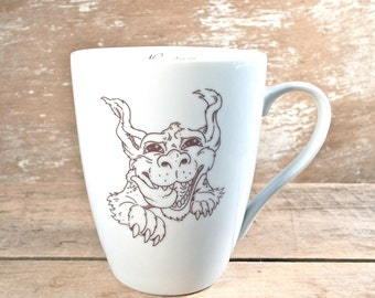 Mug with Luck Dragon, Neverending Story, Never Give Up Luck Will Find You Tea Cup Teacup Mug, Cute 14 oz Porcelain Coffee