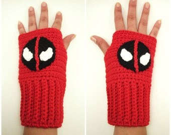 Deadpool Inspired Geeky Gauntlets. Wristwarmers. Superhero Fingerless Gloves. Super Hero Series. Crochet Marvel Comics Accessory. Cosplay.