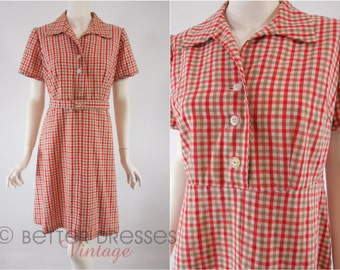 70s Red and Taupe Gingham Shirtwaist - med, lg
