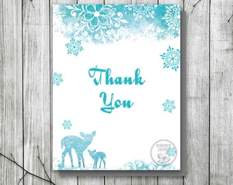 Baby It's Cold Outside Thank You Card, Winter Baby Shower Thank You Card, Blue Snowflake Thank You Card Printable, Snow Card, Deer Card, DIY