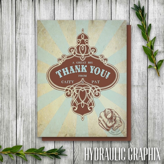 Vintage Baby Shower Thank You Cards: Retro Thank You Card Printable, Circus Party Thank You