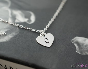 Initial necklace, personalized jewelry, heart pendant, simple necklace, everyday jewelry
