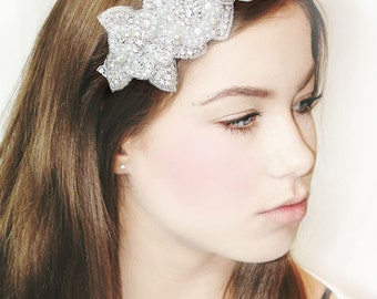 My Pretty Julie bridal headband - Stunning hair adornment with crystals and pearls
