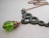 Snake Necklace Big Drop Lime Green Antiqued Copper Poisonous Reptile Twins Mythic Beasts Victorian Gothic Jewelry Pagan Goddess Rusty Black