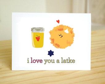 I Love You A Latke - Funny, Cute Jewish Holidays / Hanukkah / Chanukah / Anniversary Card / I Love You / Handmade Greeting Card